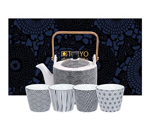 TOKYO design studio, Nippon Black, Tee Set. Teekanne 0,8ltr, und Vier Tassen in dekorativer Geschenkbox. Teeservice Porzellan Set.