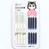 ViewHuge Cute Fountain Pens,Kids Cartoon Cat Pattern Plastic Fountain Pen Set Creative Writing Pens with 8 0.38MM Blue Ink Refills