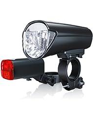 CSL - LED Fahrradlicht Set StVZO zugelassen | Modell DG330 / helle LED (30 Lux) | Fahrradlampe / Fahrradbeleuchtung Set inkl. Front- und Rücklicht | 1x Lichtstärke-Modus | energiesparend | stoßfest
