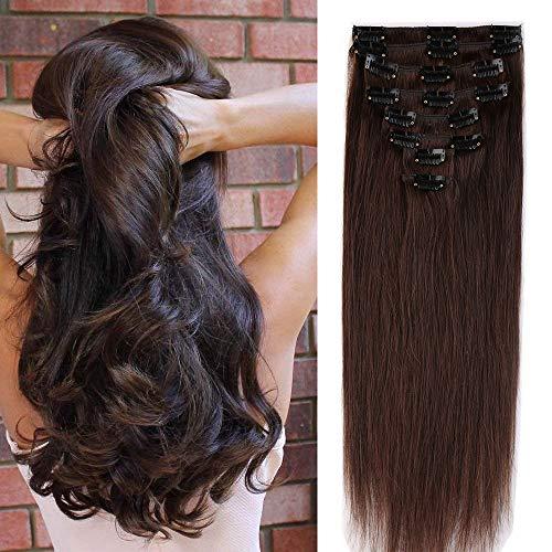 50cm 8pz extension capelli veri clip umani lisci remy parrucca donna naturale allungamento full head