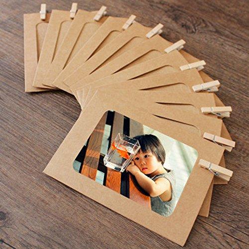 30 de papel Kraft marco de fotos DIY colgar en la pared marcos de fotos con 30 clips & 3 piezas 2 m de alambre para colgar fotos organizador decoraciones de pared (Blanco, Negro, papel de color original Kraft)