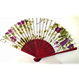 AUM- Colorful, Floral Pattern, Hand Held Folding Bamboo Japanese Silk Hand Fan (White-MS).100% Hand Crafted, Gift Fan For Girls, Women, Wedding Party. Buy 100% Original Imported Hand Fan From Aum Impex Only