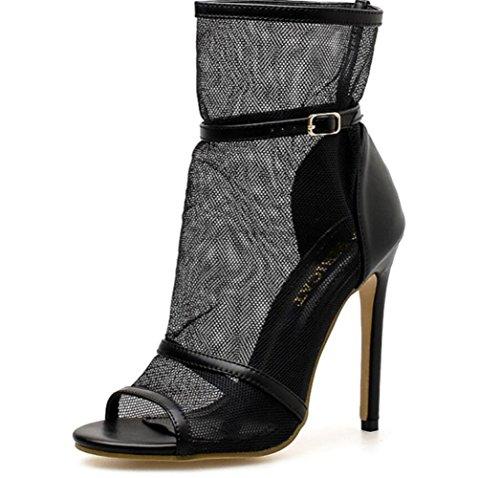 LINYI Womens Nouveau Stiletto à Talons Hauts Mesdames Bottes Maille Ajourée Chaussures