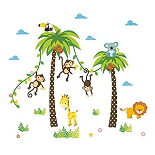 AWAKINK Cartoon Animals Lion Monkey Giraffe Coconut Palm Tree Wall Stickers Wall Decal Vinyl Removable Art Wall Decals for Girls and Boys Nursery Room Children's Bedroom
