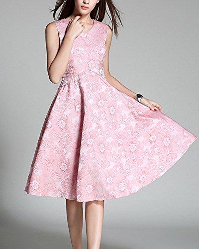 Vestiti Donna Vintage 1950's a V Collare Senza Maniche A-Line Vestito Pink