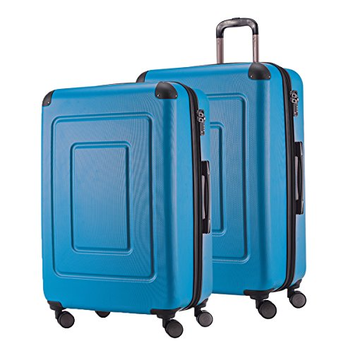 HAPPY TROLLEY by HAUPTSTADTKOFFER 2er Kofferset · LUGANO · TSA · MATT · 123 Liter XL Reisekoffer + 123 XL Reisekoffer (in versch. Farben) (Cyan Blau)