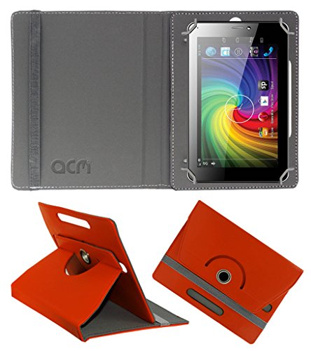 Acm Rotating 360° Leather Flip Case for Micromax Funbook P365 Cover Stand Orange  available at amazon for Rs.149