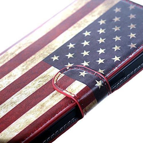 HB-Int 4 en 1 PU Cuir Etui Housse pour iPhone 6/6S (4,7 pouces) Zèbre Coloré Motif Fashion Coque Protecteur Flip Wallet Cover Case Stand Fonction Couverture Card Slots Book Style Coque Magnétique Anti Américain