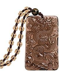 Yiran Natural Obsidian Obsidian Animal Totem pendentif inclure des perles de bénédiction et collier réglable