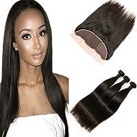 Syk peruviano dritto capelli chiusura frontale con bambino capelli e pacchi 13x 4free Part Natural Black Bleached Knots