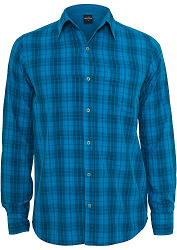 Checked Garment Dye Shirt Blue