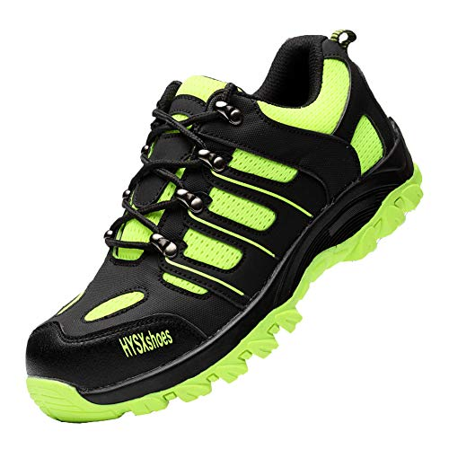 Gainow Sicherheitsschuhe Herren Damen Arbeitsschuhe Stahlkappe Schutzschuhe Leicht Atmungsaktiv Sportlich Traillaufschuhe Durchdringungskraft verhindern 1200N Hiking Trekking Schuhe (43 EU, Grün) …