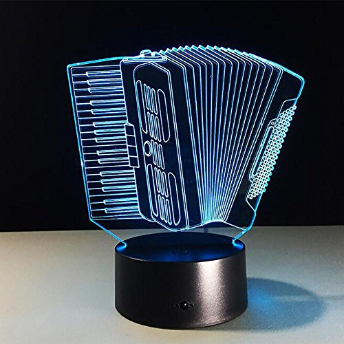 Unbekannt LPY-Akkordeon Musikinstrumente 3D Visual Illusion LED Tischlampe Nachtlicht mit 7 Farbwechsel für Mädchen Jungen Geschenk Haushalt Schreibtisch Zubehör