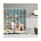 Knbob Qualität Duschvorhang Seestern-Muschel Stil 4 Shower Curtain 165X180CM mit Vorhanghaken Wohnaccessoires