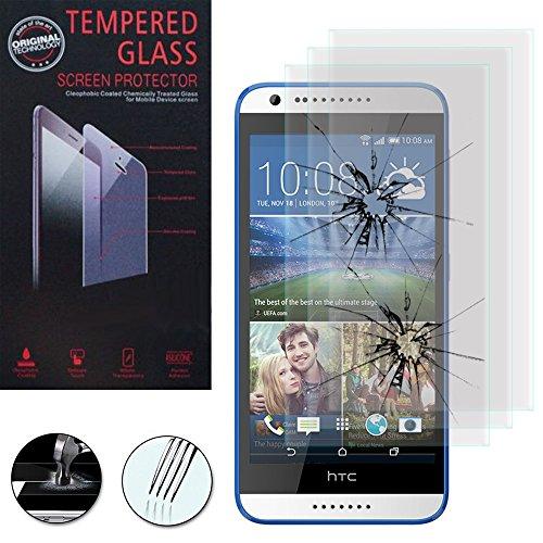 VComp-Shop® 3x Hochwertige gehärtete Panzerglasfolie für HTC Desire 620 - TRANSPARENT (Dual-sim Handy Htc)