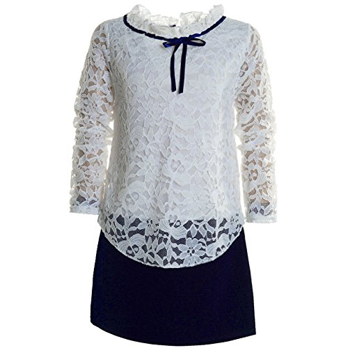 BEZLIT Mädchen Kinder Spitze Frühlings Kleid Peticoat Festkleid Lang Arm Kostüm 21052 Navy Größe 116 (Das Arme Mädchen Kostüm)
