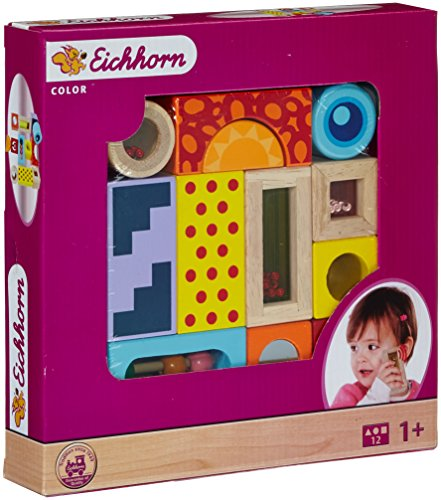 Eichhorn 100002240 - Color Holz-Soundbausteine, 12-teilig, Holz bunt bedruckt - Klangbausteine