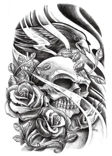 temporare-korperkunst-entfernbare-tattoo-aufkleber-schadel-8014-sticker-tattoo-temporary-tattoo-fash