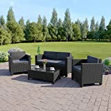 Abreo ROMA 4 Seater Outdoor Garden Rattan Furniture Patio Set Conservatory Sofa Armchair Coffee Table INCLUDES OUTDOOR PROTECTIVE RAIN COVER (Black with Dark Cushions)