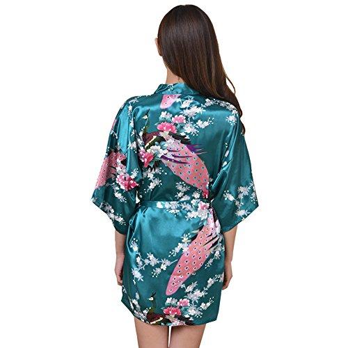 iBaste Ladies Kimono Vestaglia Elegante raso liscio Biancheria da notte Pavone e fiori Tinte unite Periodo transitorio breve S-XXL verde-