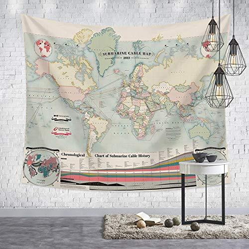 Tapestry Wall Hanging,Nordic Moderne Psychedelic Hippie Persönlichkeit Retro Style Grüne Welt Karte Drucken Fabric Wall Tuch Für Zu Hause Wohnzimmer Hintergrund Wandteppich Strand Decke, 150 X 200 -