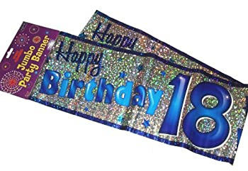 Happy 18th Birthday Party Giant Wall Banner 3 Banners Age 18 Decoration Cheapest CDs 123PriceCheck