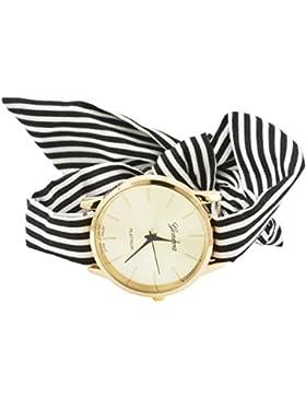 Souarts Damen Armbanduhr Streifen Form Schleife Schal Band Deko Uhr mit Batterie