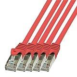 BIGtec - 5 Stück - 1,5m Netzwerkkabel Patchkabel Ethernet LAN DSL Patch Kabel Gigabit rot (2X RJ-45 Anschluß, CAT5e, geschirmt FTP) 1,5 Meter