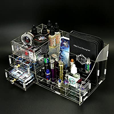 Demon Killer Acrylic Vape Storage Box Best for Store Electronic Cigarette Accessories, Pens Home Study and Other Small Parts, Size L (Clear) by Demon Killer