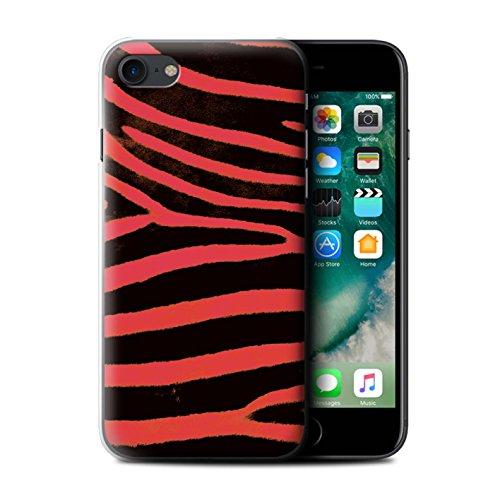 Stuff4 Hülle / Case für Apple iPhone 7 / Schwarz/Weiß Muster / Zebra Tier Haut/Print Kollektion Rot