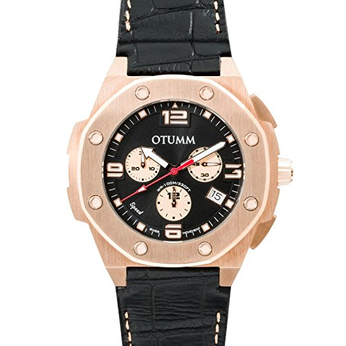 Otumm Speed Leder Rose Gold 002 45mm Unisex Speed Armband Uhr