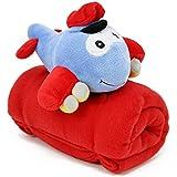Selldorado® Kuscheldecke, Babydecke mit Kuscheltier perfektes Geschenk zur Erstlingsausstattung oder Babyparty, 115 cm x 93 cm (01 Stück - Flugzeug blau)