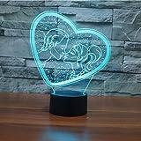 Nachtlicht 3D Romantische Neuheit Herz Lampada Nachtlicht Led Tischlampe Usb 7 Farbwechsel Liebhaber Kuss Leuchte Hochzeit Decor Geschenke