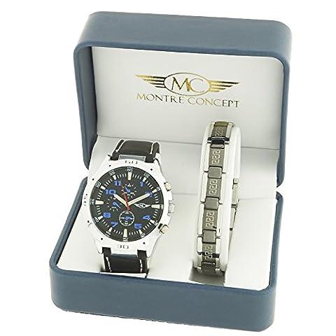 Montre-Concept - coffret cadeau montre homme avec un bracelet acier