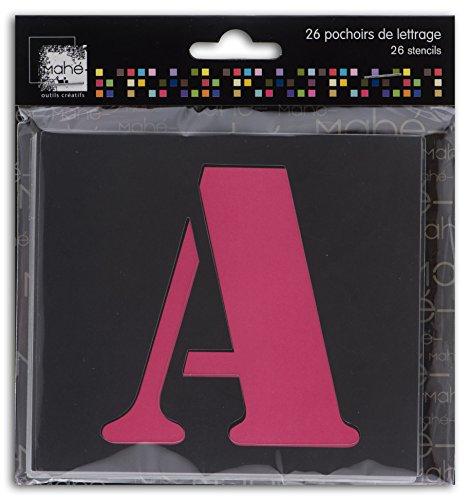 Mahé le18Set 26Schablonen Buchstaben Kunststoff transparent 9x 9x 0,1cm (Schablone Buchstaben)