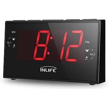 InLife Radiosveglia Digitale con Grande Display LCD 1,8'', Radio FM/AM, Timer, Doppie Sveglie da Modificare