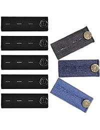 Greestore Lot de 8 extenseurs de taille de pantalons élastiques avec bouton  dont 3 élastiques pour 6c4770457c90