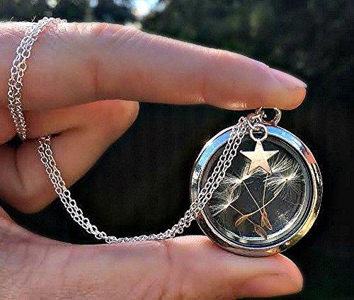Relicario collar Plata de ley Diente de león Dije de estrella abalorio - guardapelo flotante medallón joyas de San Valentín para mujeres Apertura magnética Amuleto personalizado CAJA DE REGALO