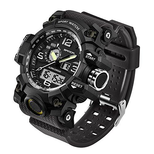 Taffstyle Herren Sportuhr Armbanduhr Silikon Sport Watch mit Licht Alarm Stoppfunktion Chronograph Digital Quarz Flieger Uhr Schwarz