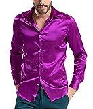 DD.UP Herren Seide Freizeit Hemd Slim Fit Baumwolle Solid Color Tanz Abschlussball-Kleid Langarm Hemden