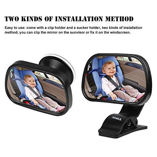 TiooDre Backseat Baby Mirror, specchio, seggiolino auto con strap regolabile e inclinabile a vista del neonato in posizione in senso–per sedile sicuro e infrangibile, 360Â ¡ã £ Rotation