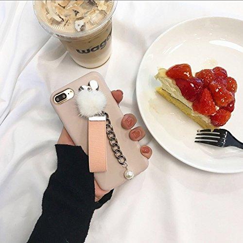 Hülle für iPhone 7 plus , Schutzhülle Für iPhone 7 Plus Leder weichen schützenden rückseitigen Abdeckungs-Fall mit Pelzkugel-Kettenanhänger ,hülle für iPhone 7 plus , case for iphone 7 plus ( Color :  Pink