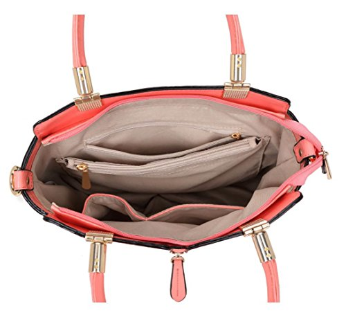 LeahWard® Damen Patent Große Größe Handtaschen Tote Schulter nett Taschen Schwarz Patent