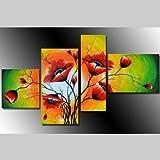 HANDGEMALT: 4 LEINWANDBILDER BILDER [MOHN 2] 120 x 70cm. Bilder auf Holzrahmen gespannt und kann SOFORT aufgehangen werden!