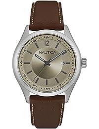 Nautica Classic hombre reloj de pulsera nad11 013g taupe piel marrón