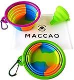 MACCAO Reisenapf Set Silikon Faltbar für Hunde & Katzen Ideal für Unterwegs | Zwei Hundenäpfe Klappbar + Trichter + Tasche Zum Mitnehmen (M, Lila,Grün)