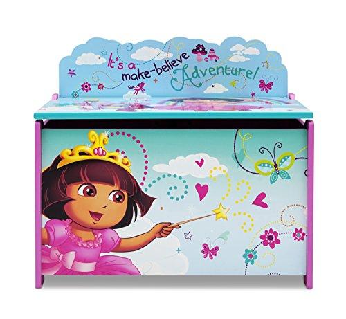Delta Children Dora la Exploradora baúl de juguete (madera, azul turquesa