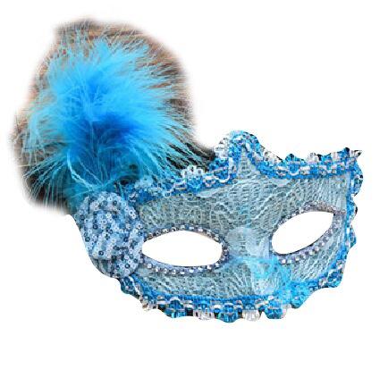 anische mit flauschigen Federn Blau Maske Maske Maskerade Karneval Fasching Verkleidung Kostüm Halloween Party Maskenball Ball Shades of Grey Mr Grey Mitternacht (Maskerade Masken Blau)