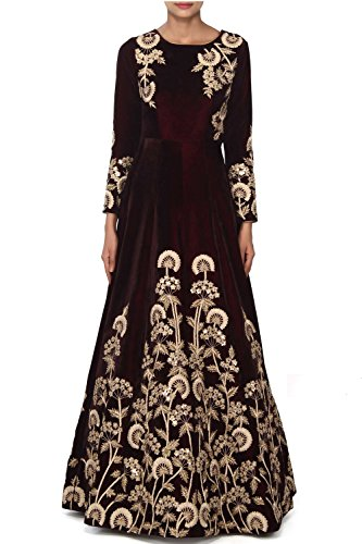Ethnic Empire Women\'s Taffeta Silk Semi Stitched Anarkali Salwar Suits (EE-EA10755_Brown_Free Size)