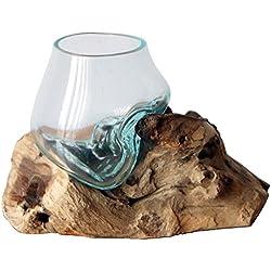 Geschenk Deko Gamal Wurzelholz Glasvase Ø Glas 12 cm Wurzel Holz Teakholz Vase Glas SS